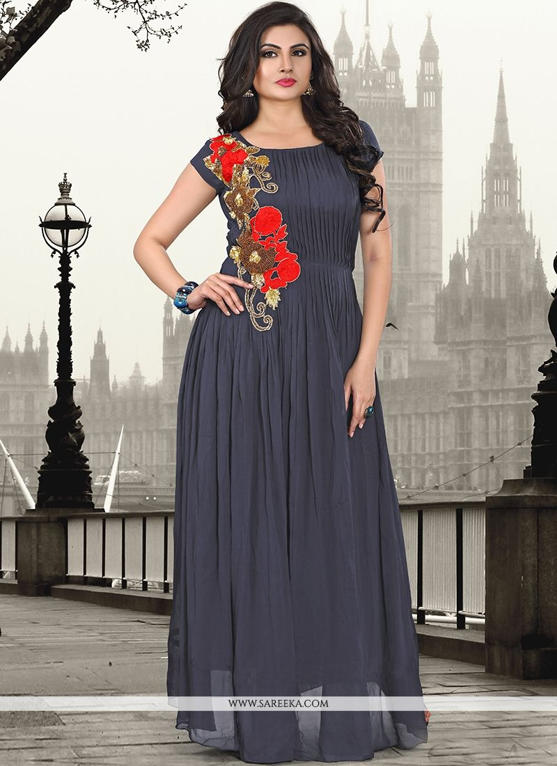 Pure Georgette Resham Work Grey Designer Gown