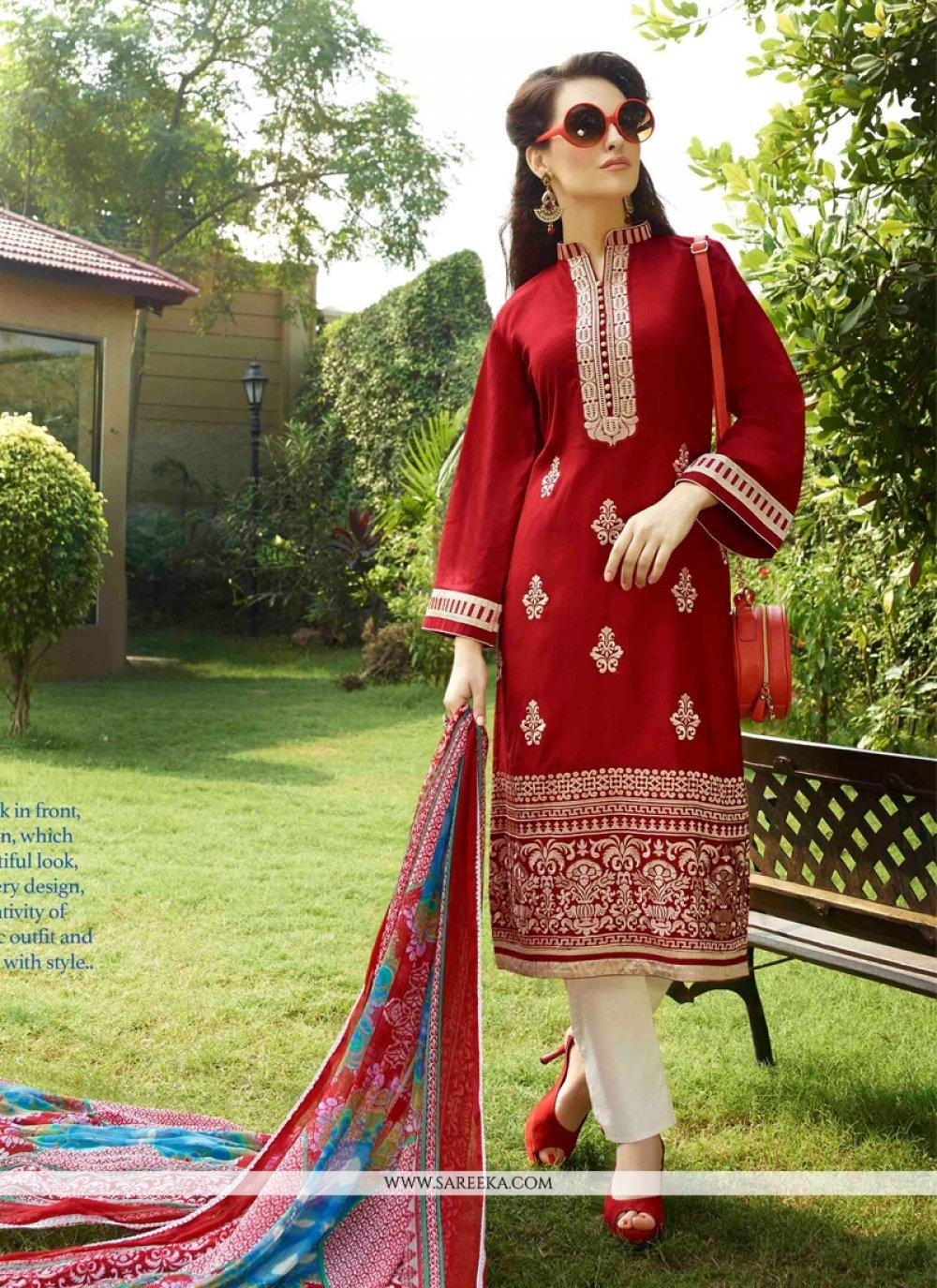 Red Cotton Satin Churidar Designer Suit