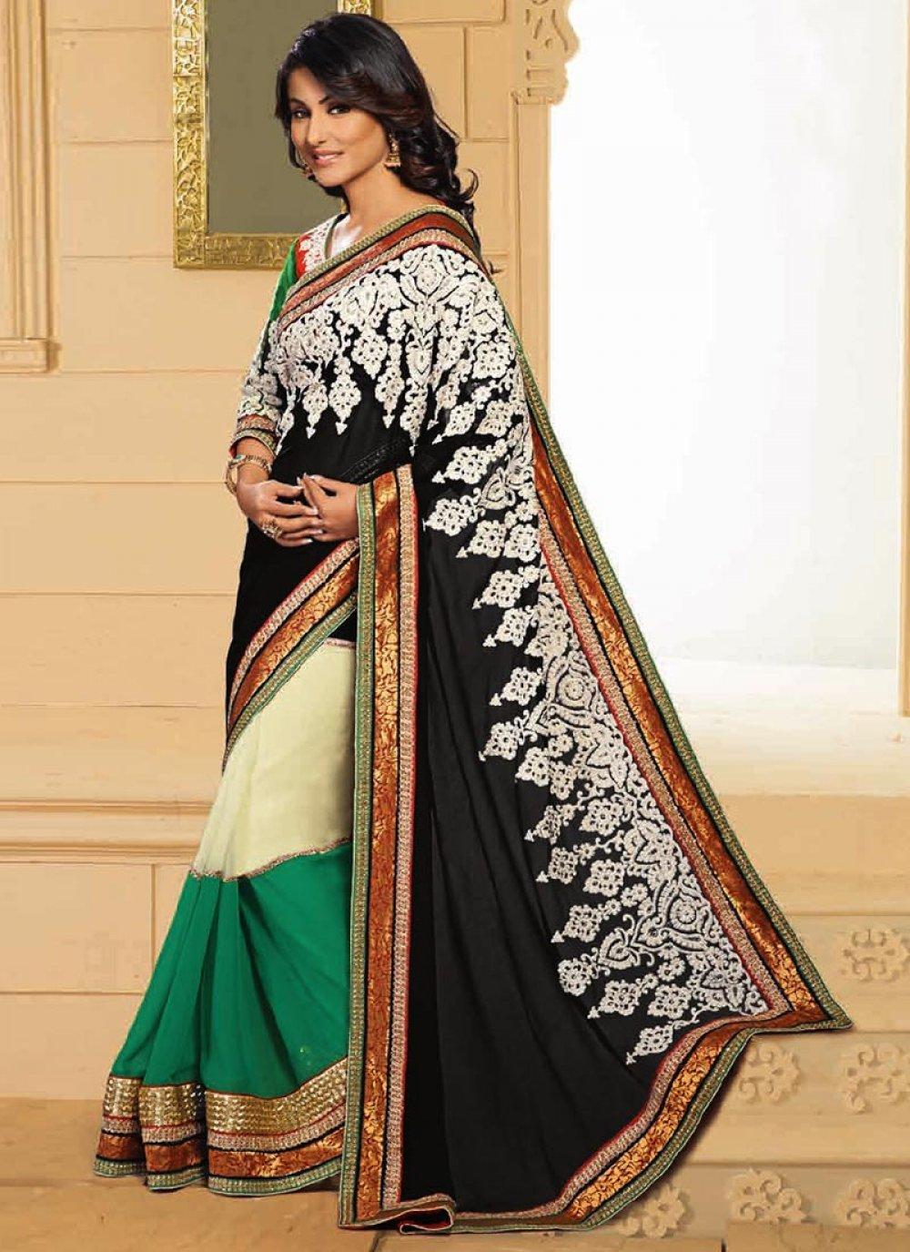 Akshara Black Embroidered Half And Half Saree