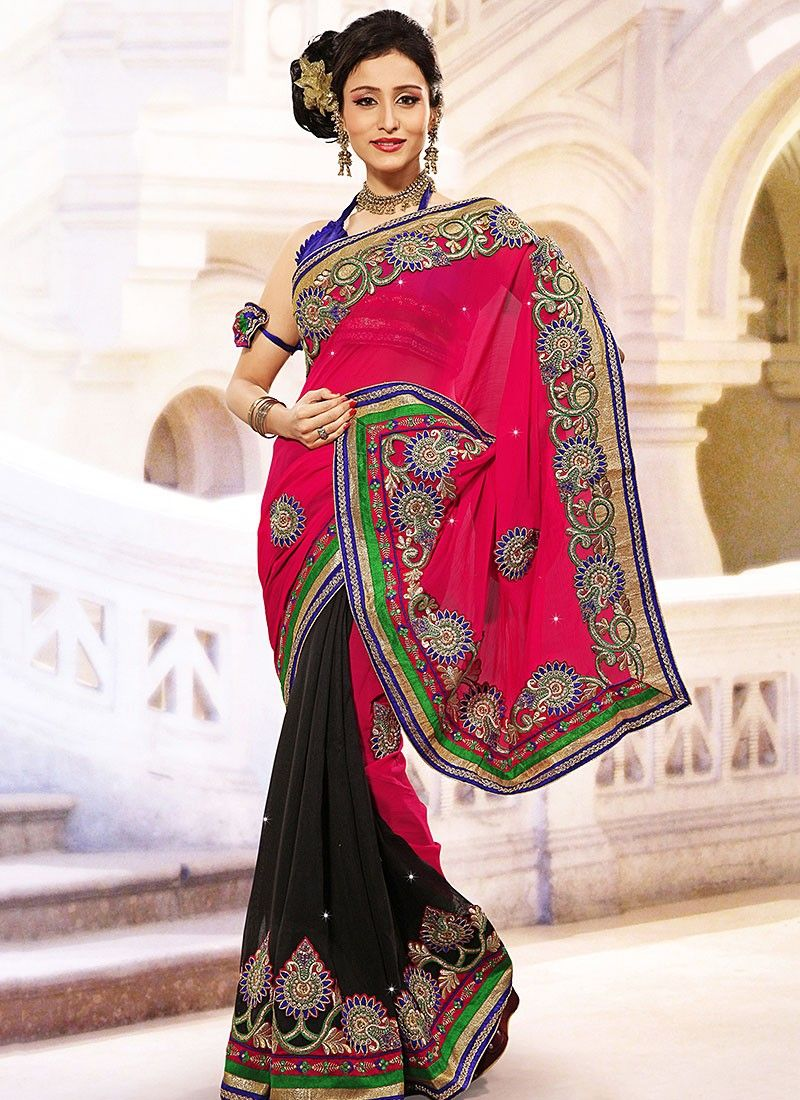 Black And Pink Half And Half Saree
