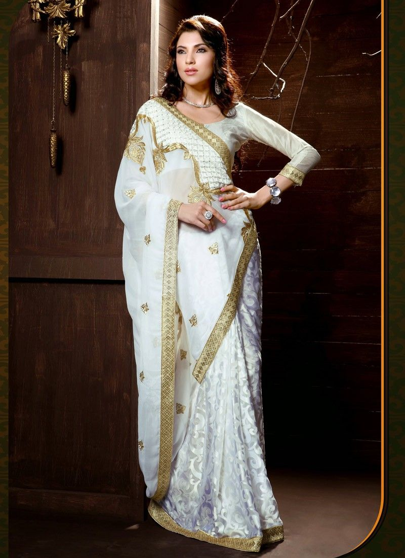 Brasso Georgette Off White Contemporary Saree