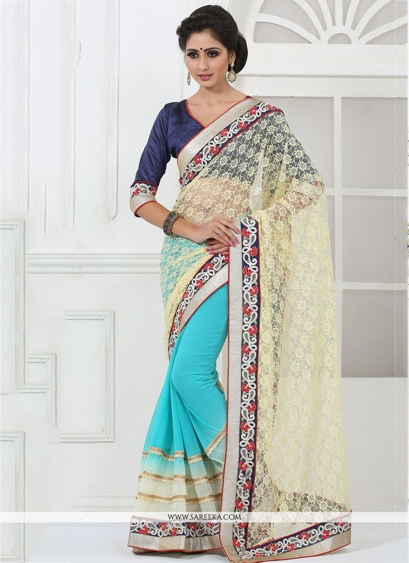 Embroidered Work Faux Chiffon Designer Saree