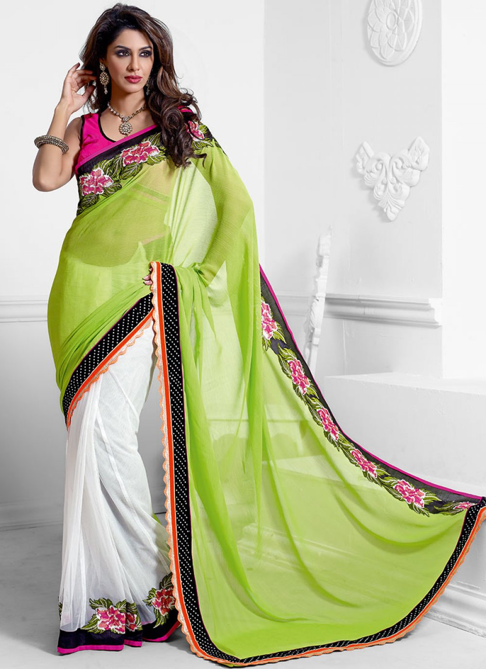 Green And Off White Net Half And Half Saree