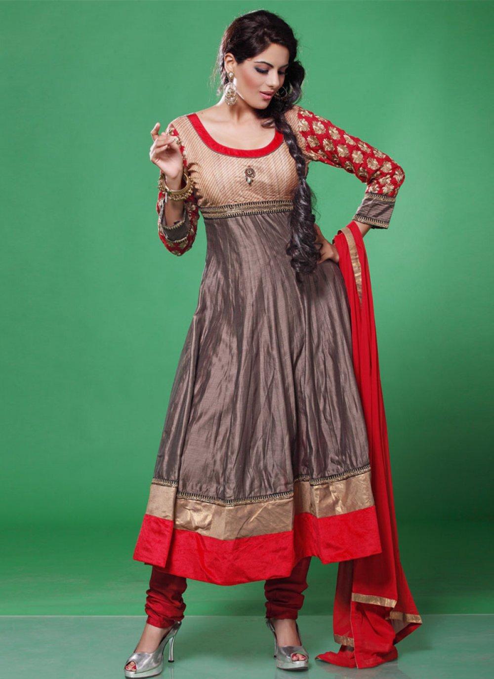Grey And Red Embroidered Designer Anarkali Salwar Suit