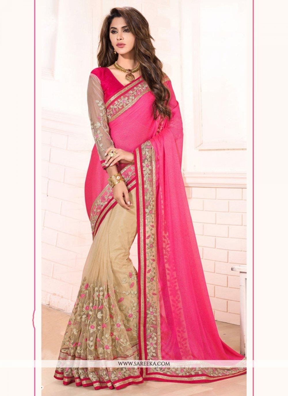 Hot Pink Patch Border Work Net Designer Saree