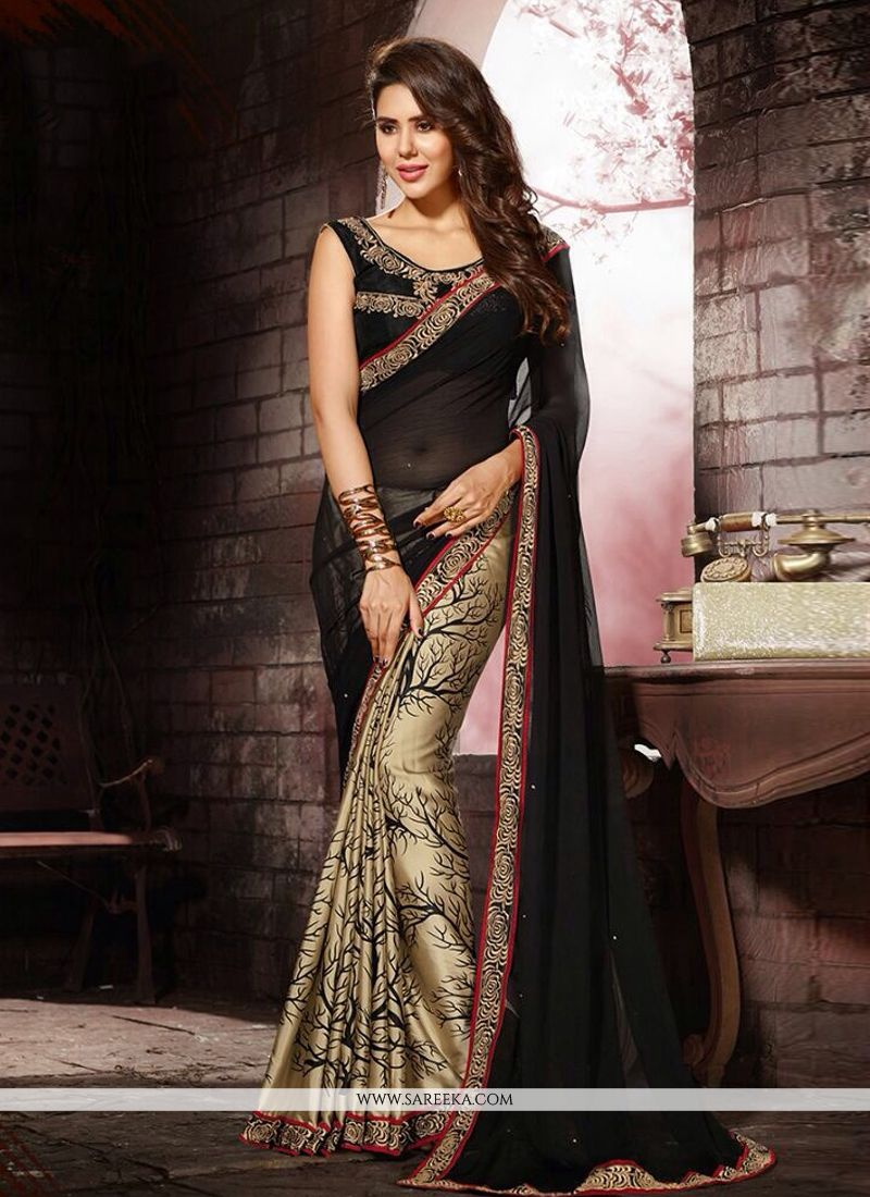 Lace Work Black and Beige Designer Saree