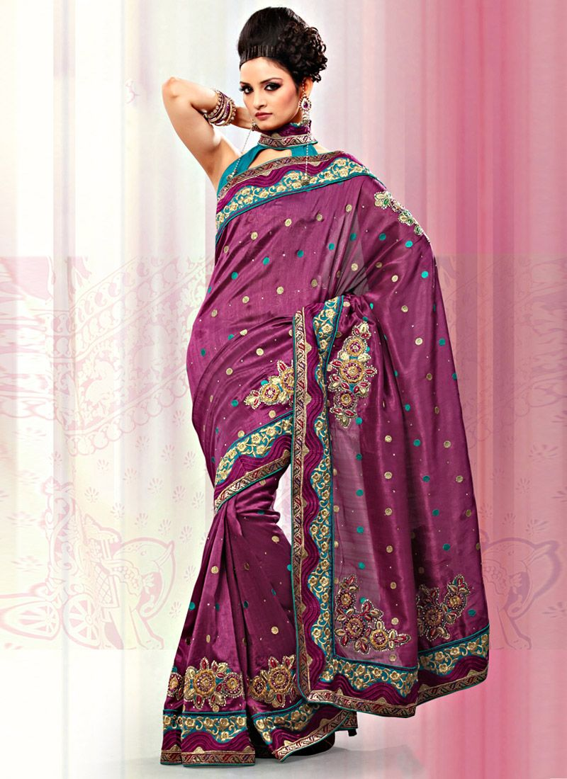 Magenta Bhagalpuri Silk Saree
