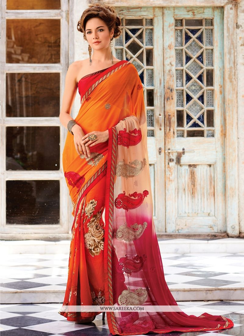 Maroon and Orange Designer Saree