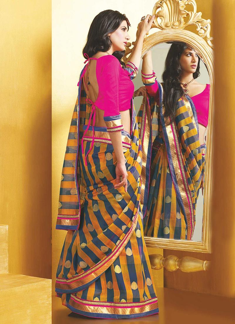 Mustard Jacquard Art Silk Saree