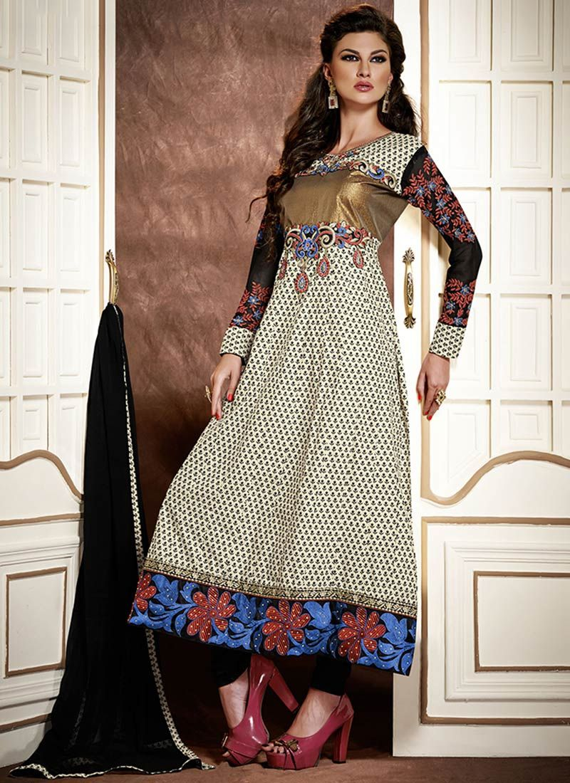 Off White Resham Work Cotton Churidar Suit