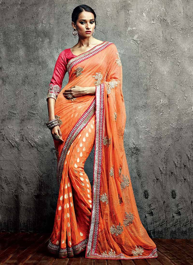 Orange Booti Work Net IIFA Embroidered Party Wear Saree