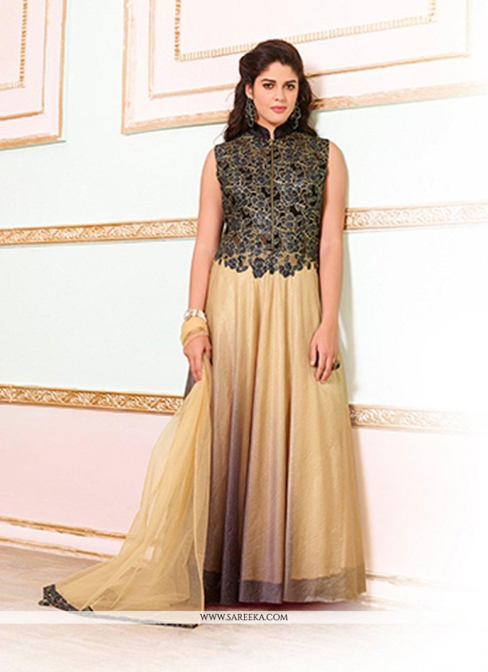 Resham Work Beige Net Designer Gown