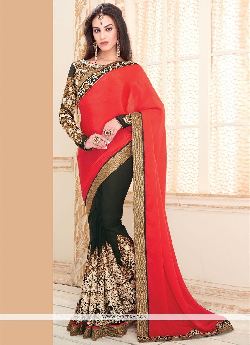 Resham Work Georgette Designer Saree