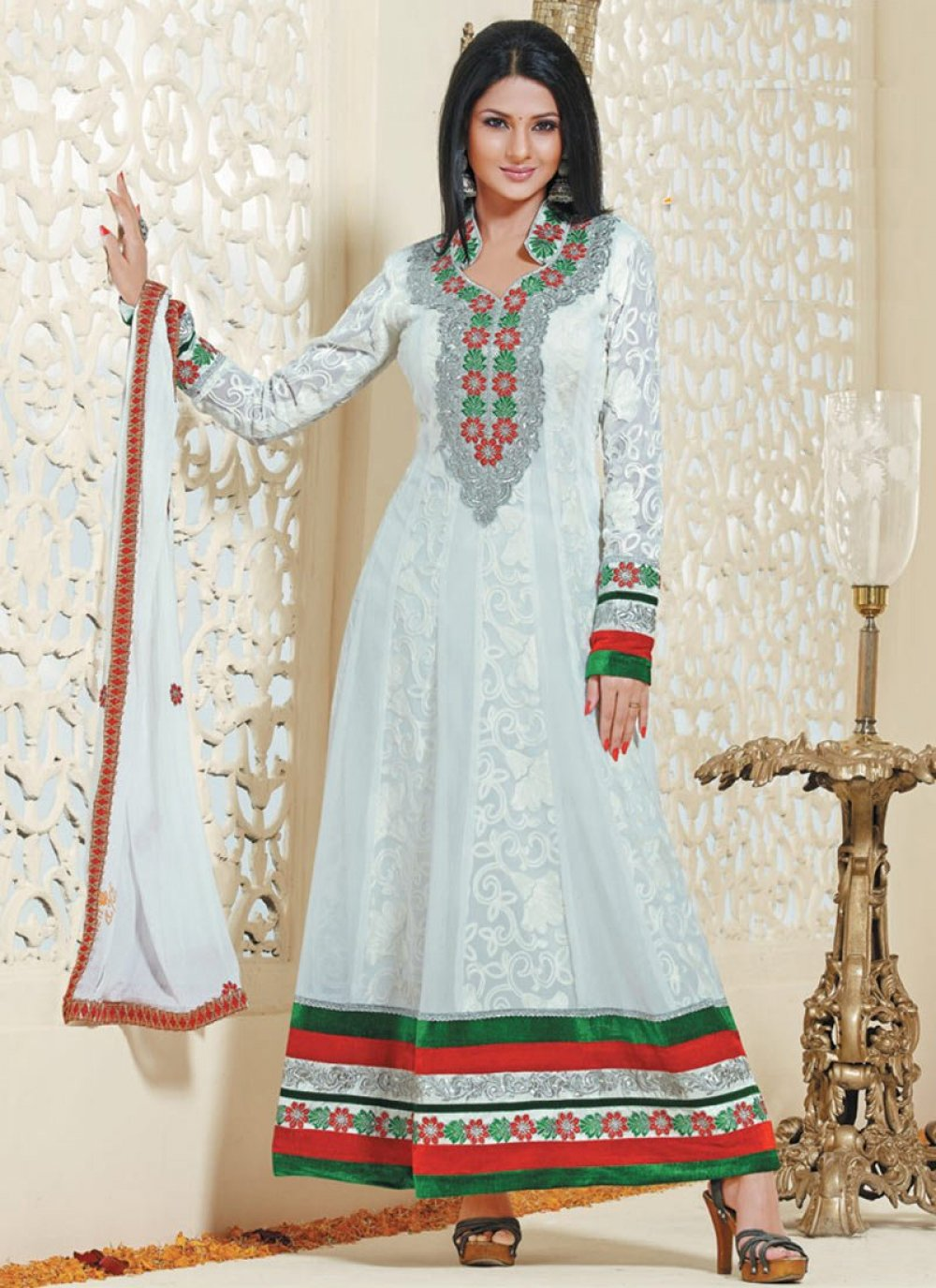 White Embroidery Work Anarkali Suit