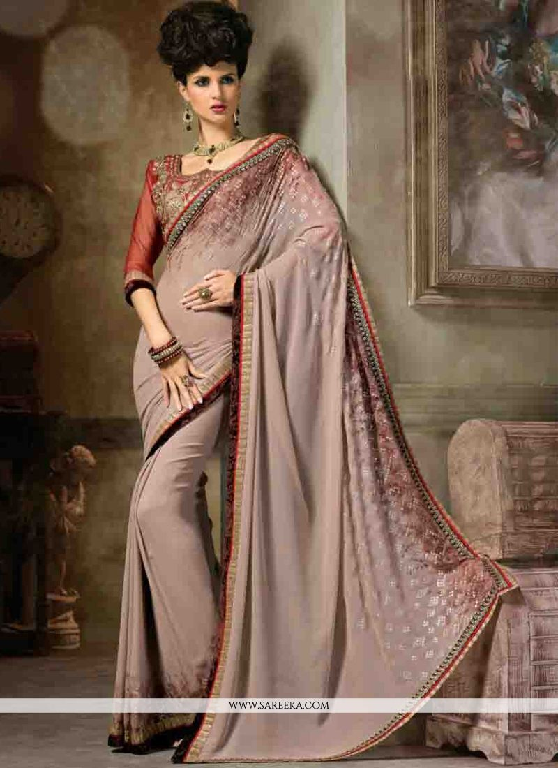 Georgette Lace Work Designer Saree