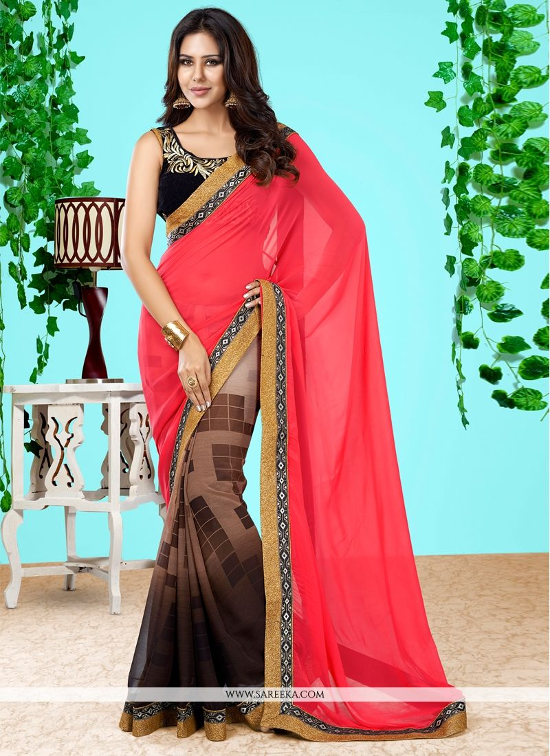 Georgette Pink Designer Half N Half saree
