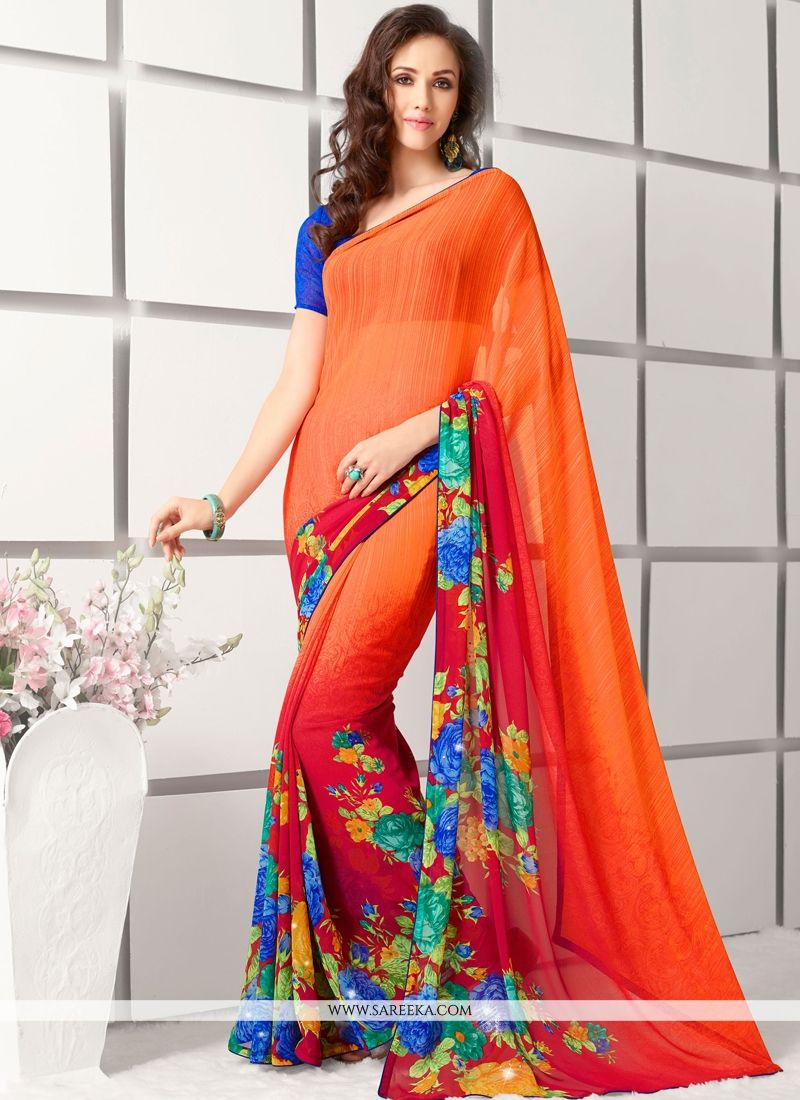 Georgette Red and Orange Lace Work Casual Saree