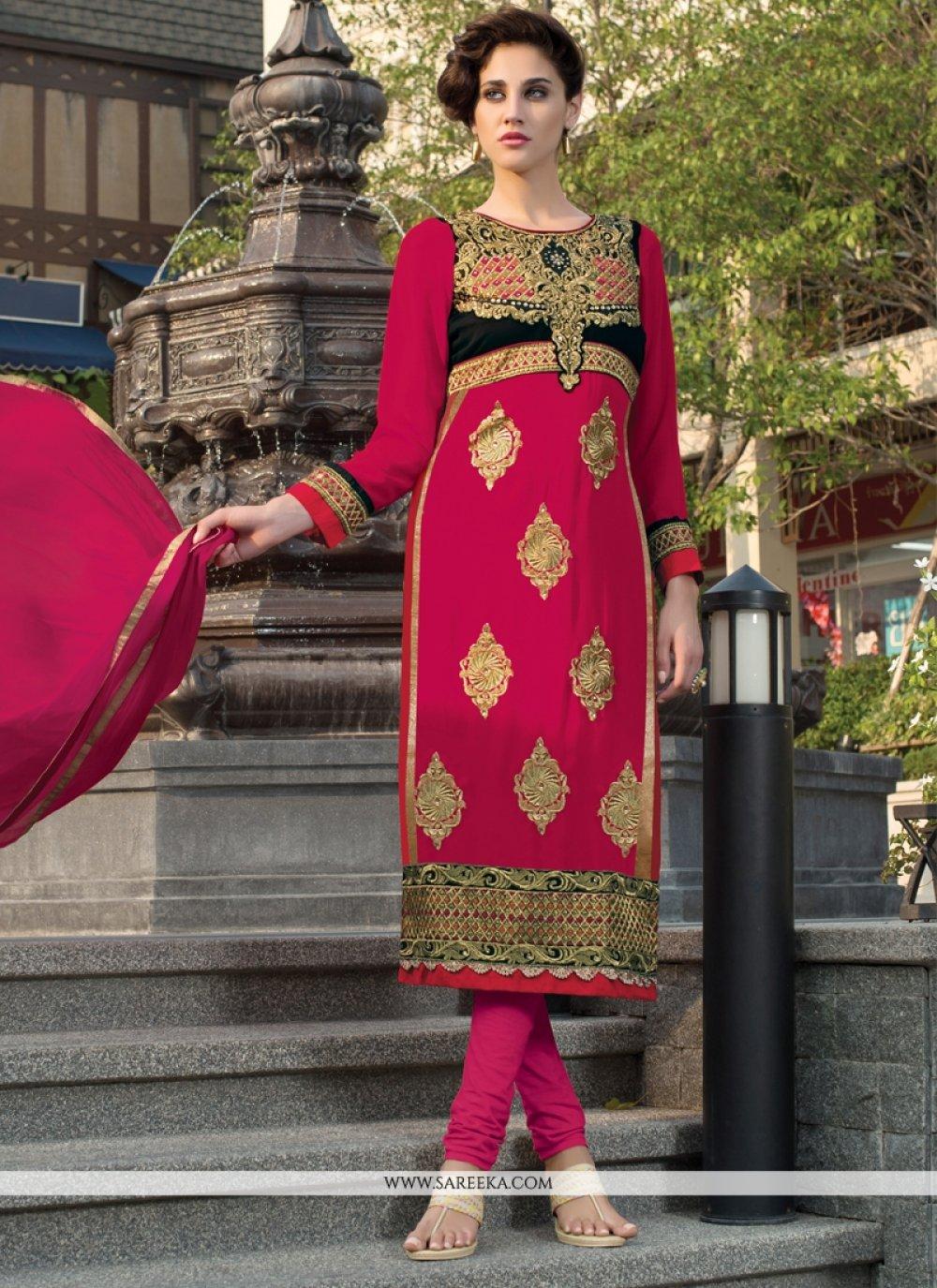 Hot Pink Churidar Designer Suit