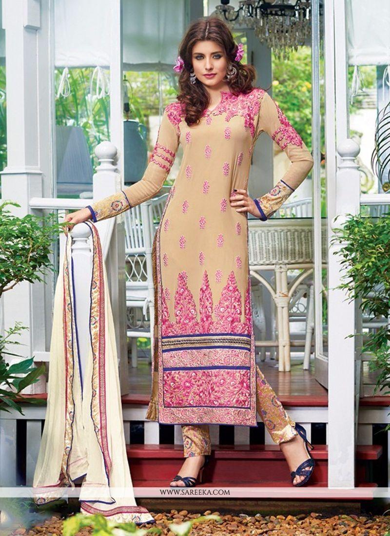 Lace Work Designer Straight Salwar Kameez