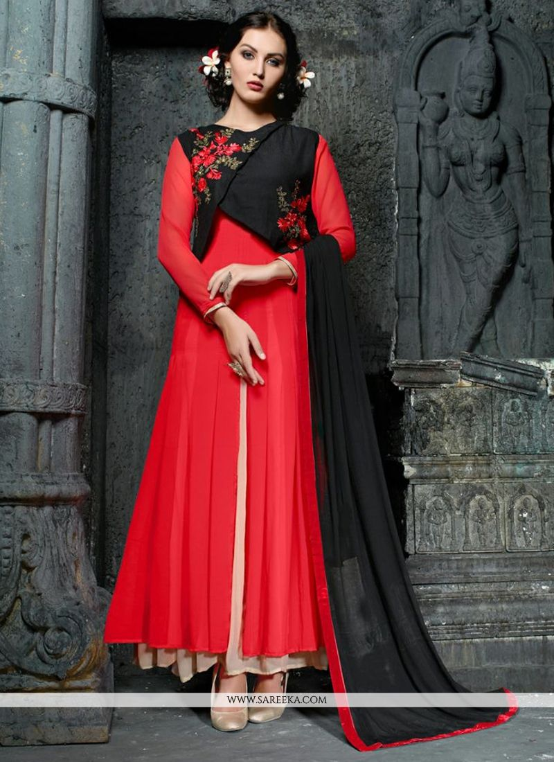 Resham Work Georgette Anarkali Suit