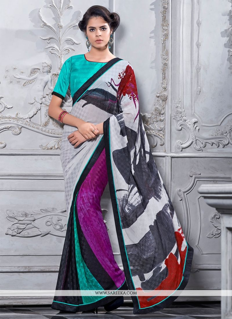 Shimmer Georgette Print Work Casual Saree