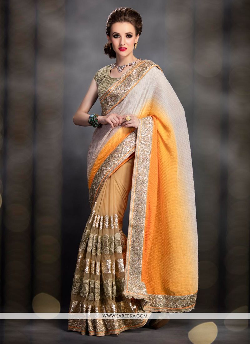 Beige Sequins Work Net Designer Saree