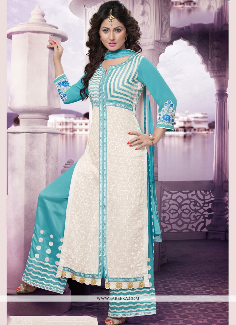 Blue and White Resham Work Designer Palazzo Suit