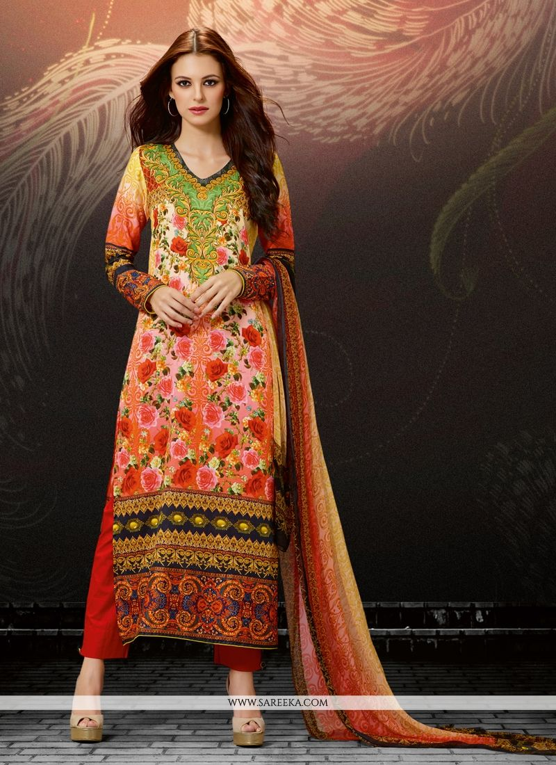 Cotton Satin Multi Colour Digital Print Work Straight Suit