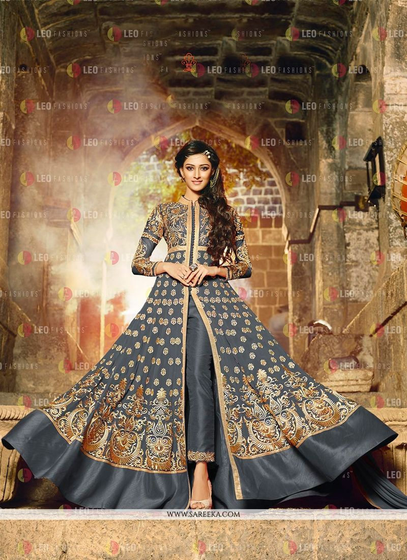 Embroidered Work Georgette Grey Anarkali Salwar Kameez