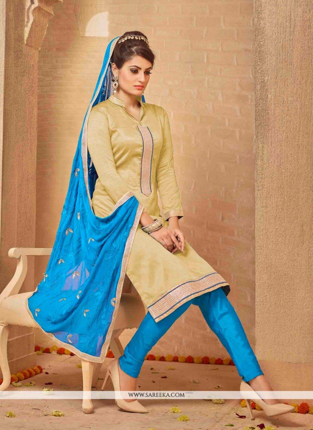 Lace Work Banarasi Silk Churidar Salwar Suit