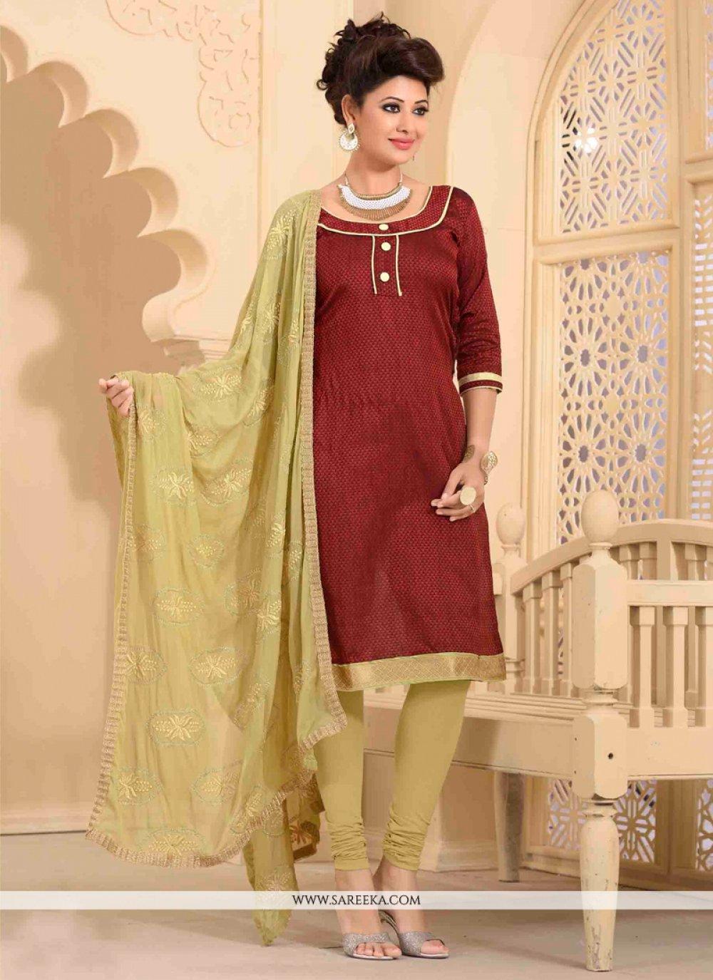 Maroon Lace Work Banarasi Silk Churidar Salwar Kameez