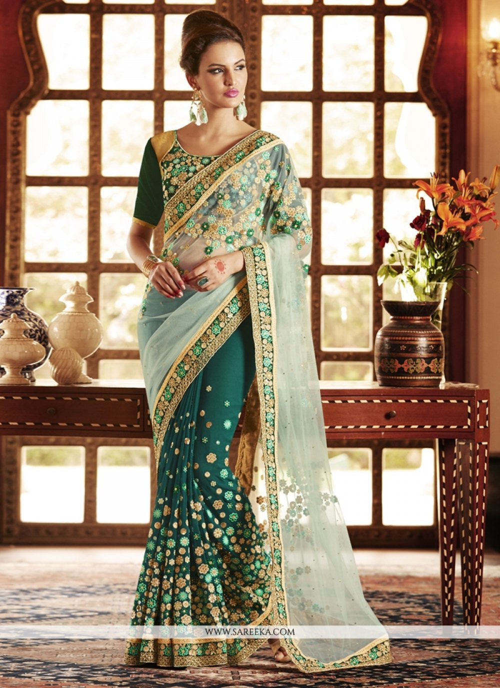 Net Green Designer Saree