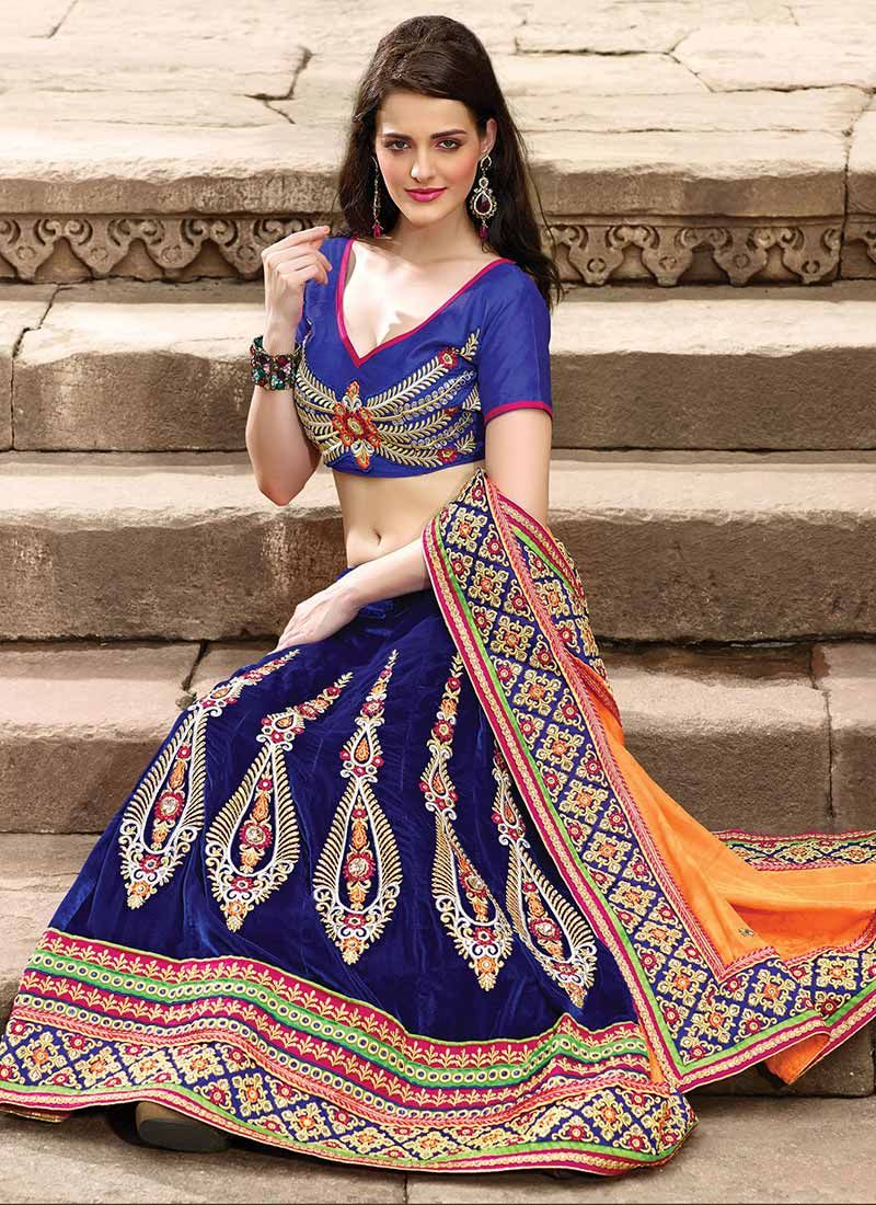 Orange And Blue Silk Lehenga Saree