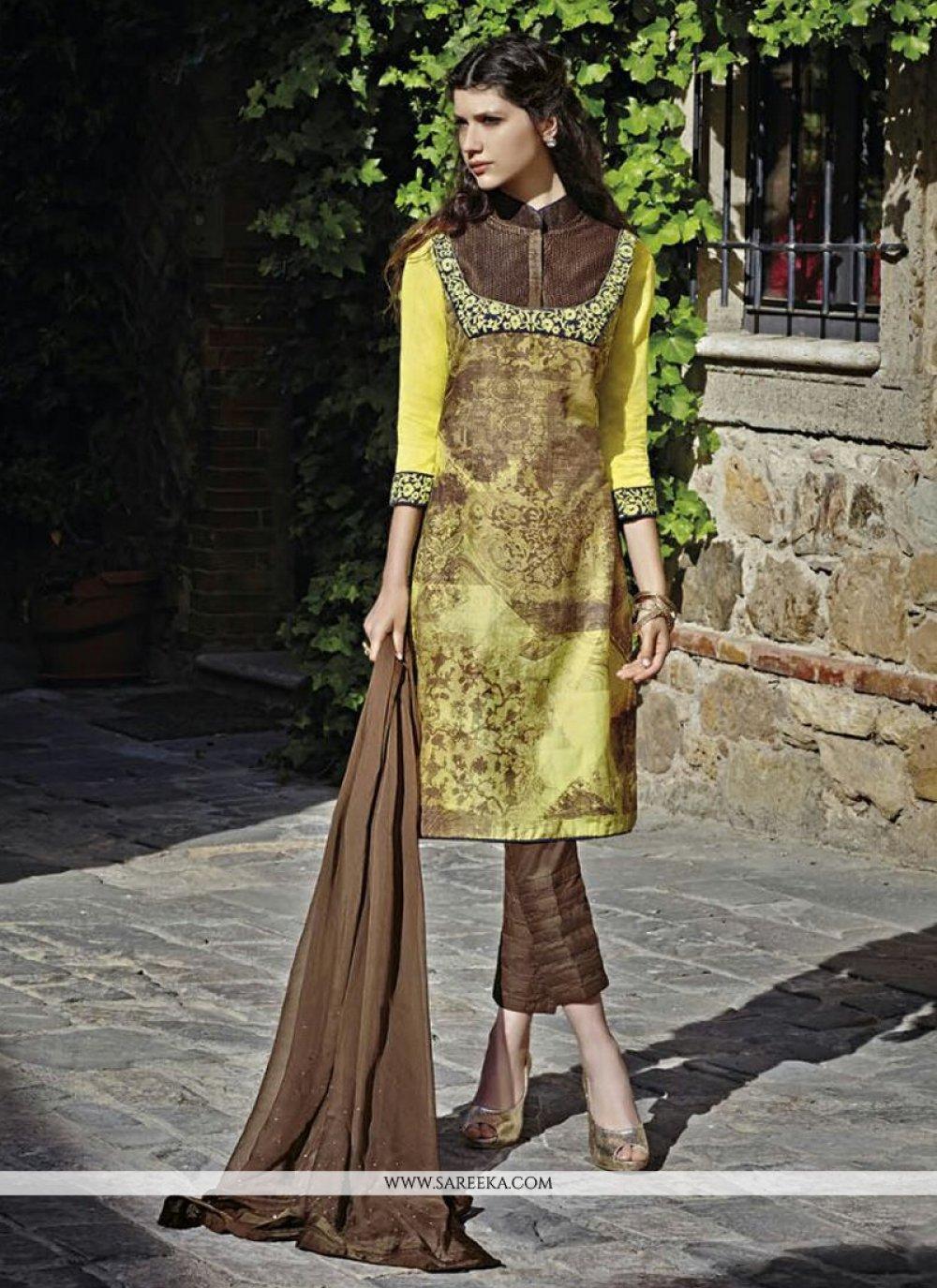 Silk Multi Colour Print Work Designer Straight Salwar Kameez