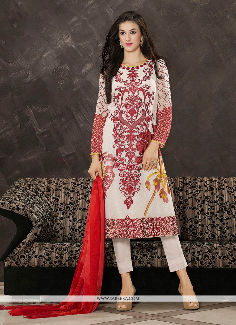 Embroidered Work White Georgette Pant Style Suit