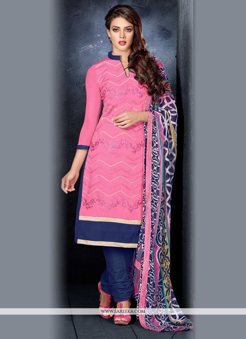 Hot Pink Lace Work Chanderi Cotton Churidar Salwar Kameez