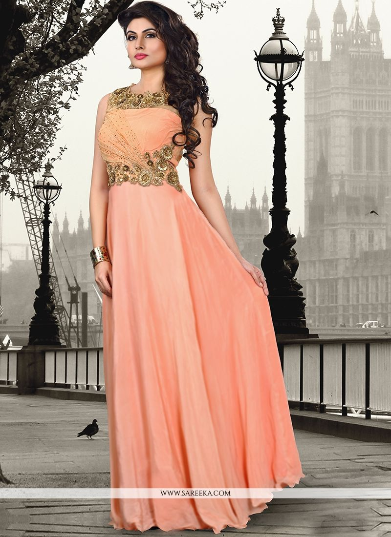 Peach Pure Crepe Floor Length Gown