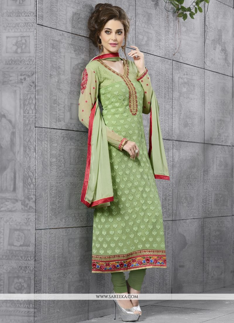 Resham Work Green Churidar Salwar Kameez