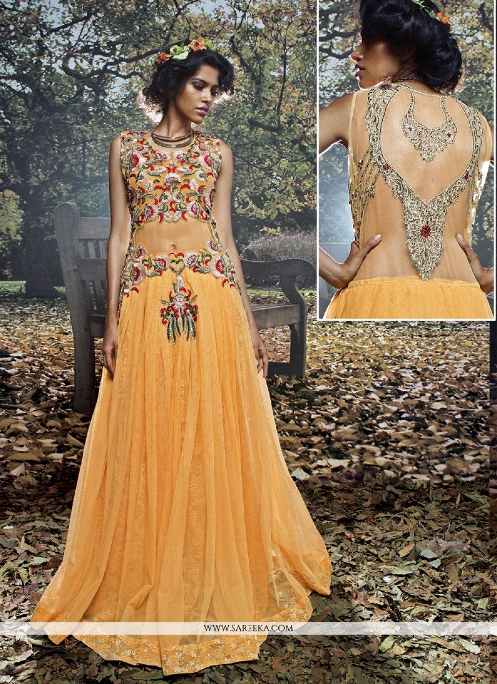 Embroidered Work Net Brasso Mustard Designer Gown