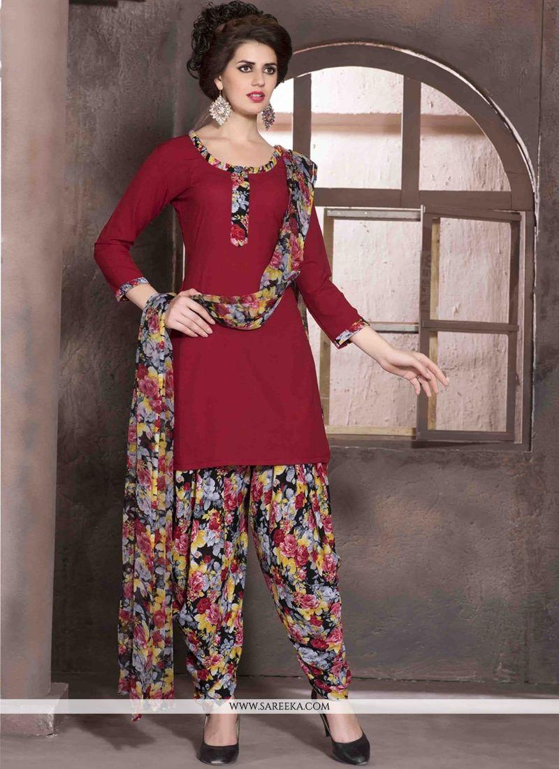 Faux Crepe Red Print Work Designer Patiala Salwar Kameez