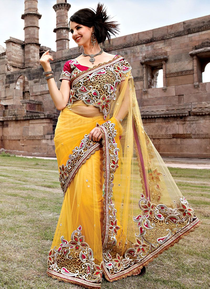 Golden Yellow Net Saree