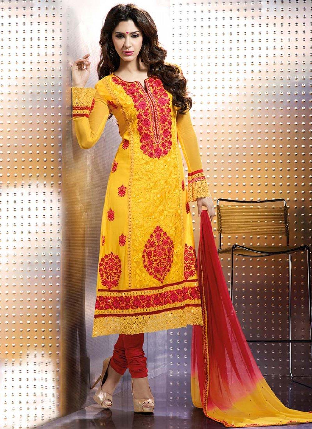 Orange And Yellow Satin Churidar Suit