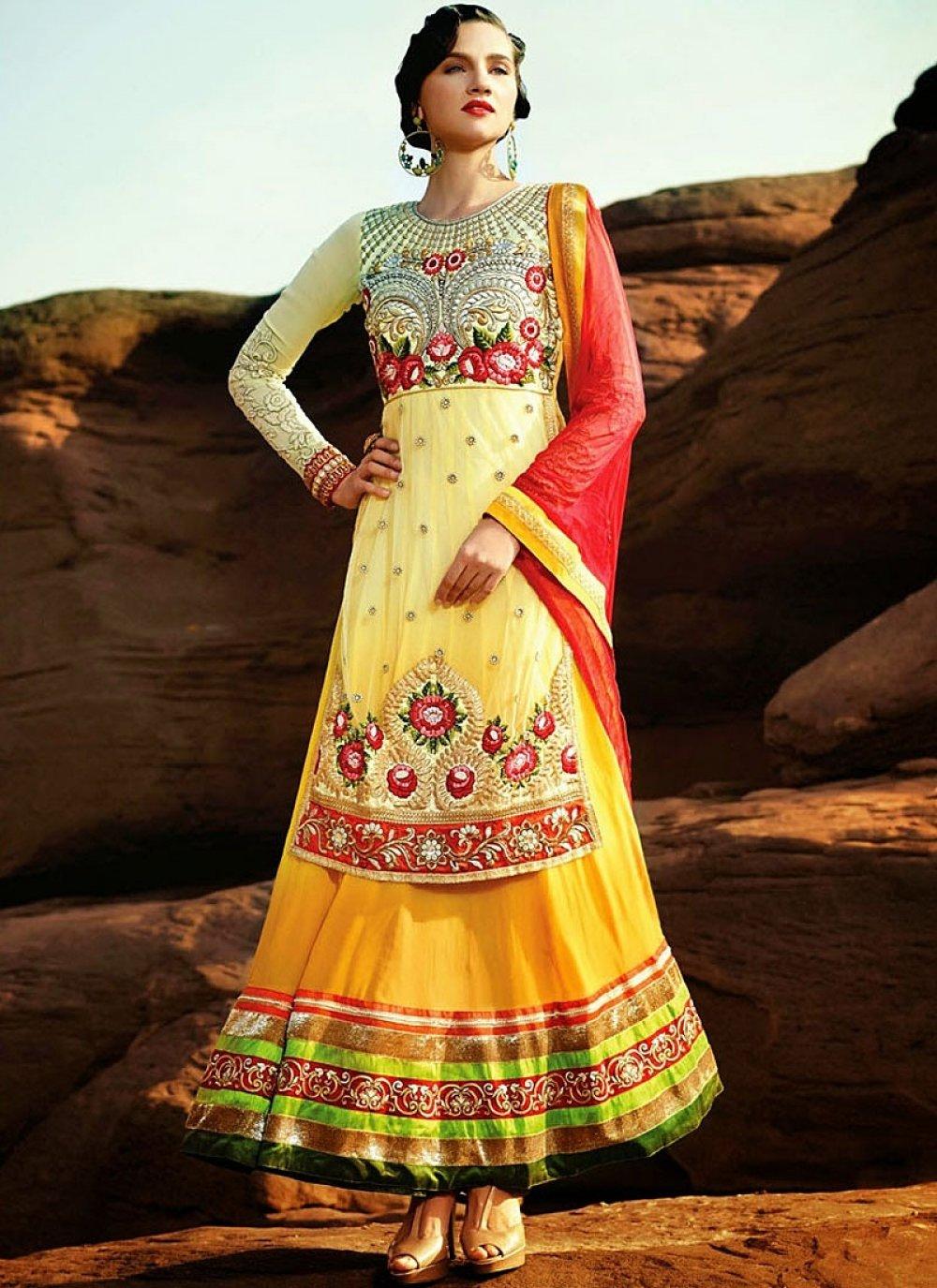 Yellow Net Georgette Anarkali Suit