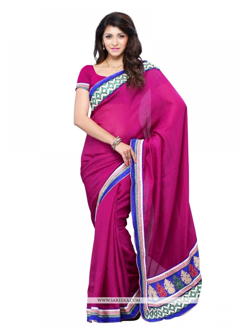 Art Silk Magenta Patch Border Work Designer Saree
