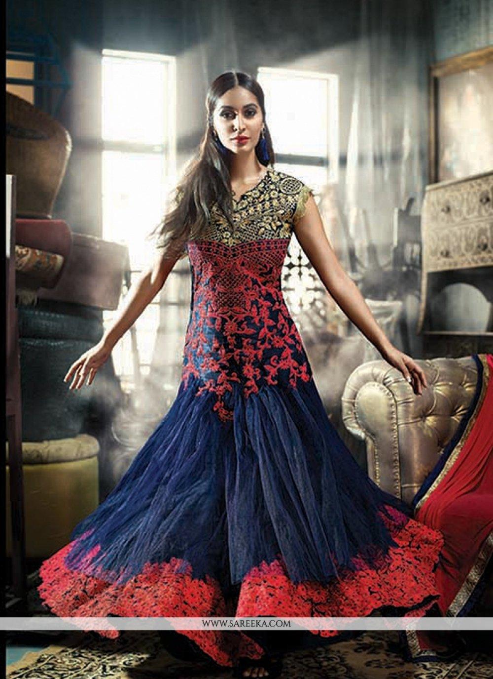 Embroidered Work Blue Net Anarkali Salwar Suit