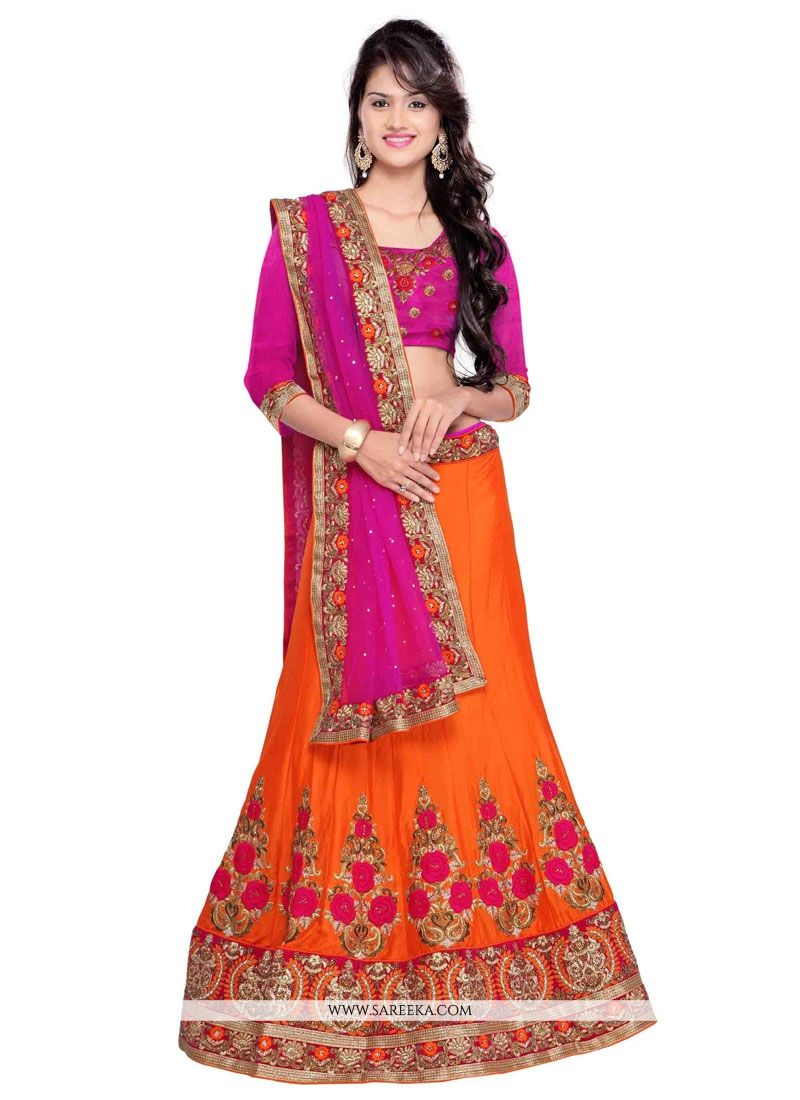 Embroidered Work Faux Chiffon A Line Lehenga Choli