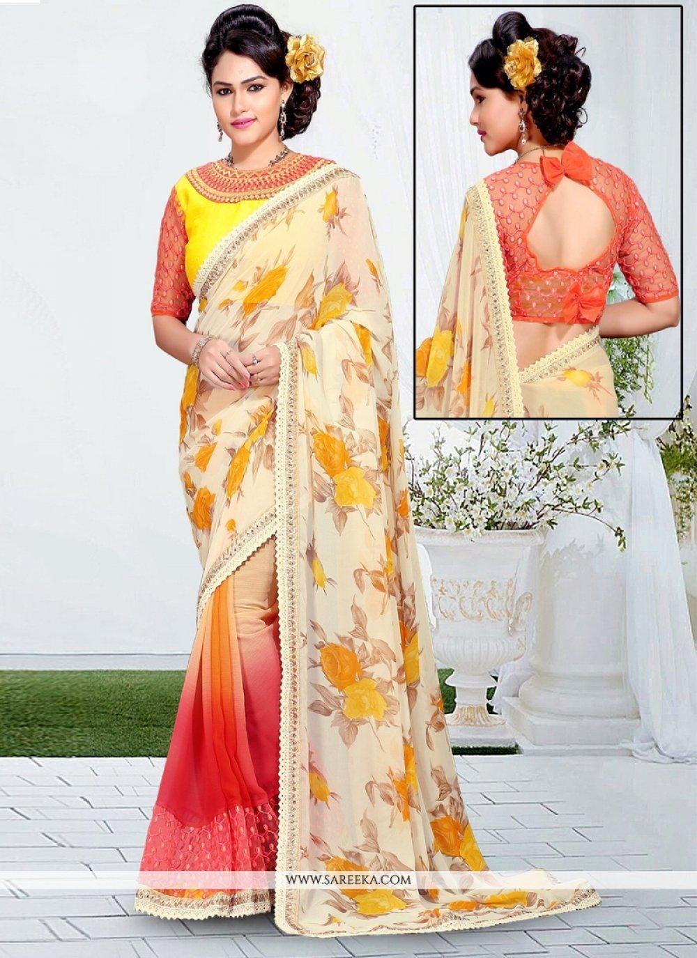 Net Lace Work Designer Saree