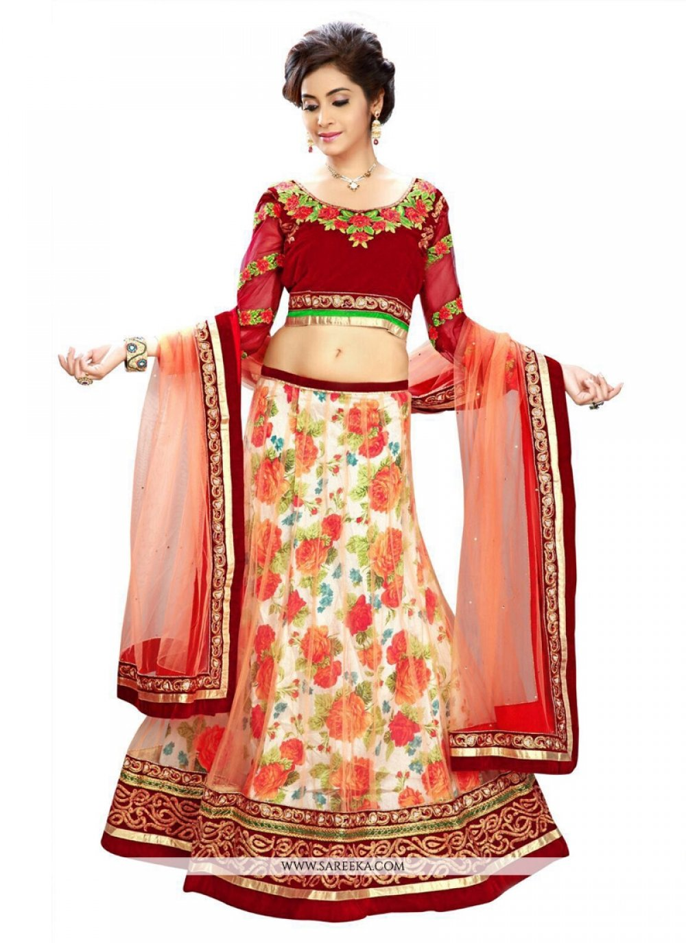 Red Aari Work Net A Line Lehenga Choli