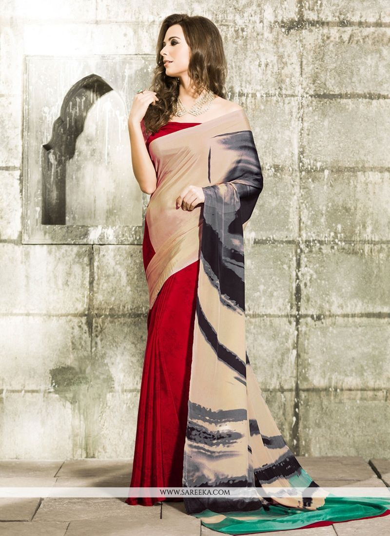 Crepe Silk Cream Casual Saree
