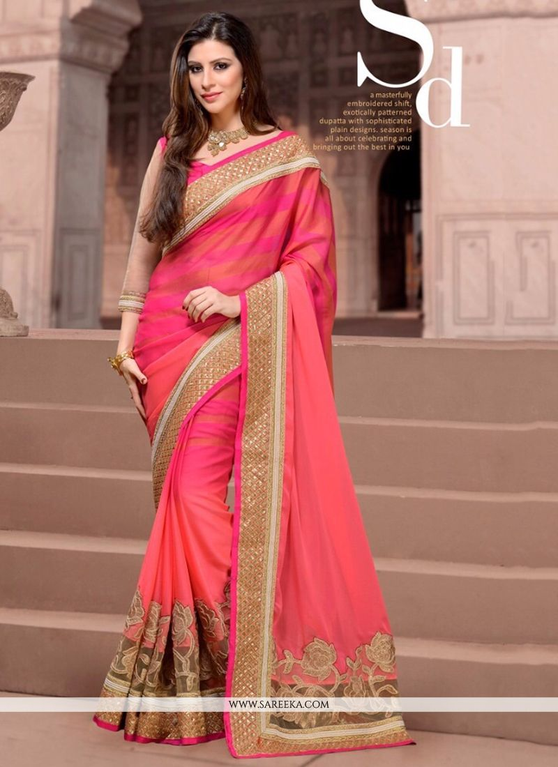 Faux Chiffon Embroidered Work Designer Saree